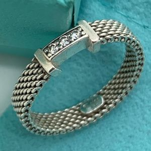 Tiffany & Co.925 Mesh 3 Diamonds Ring Sz6.5